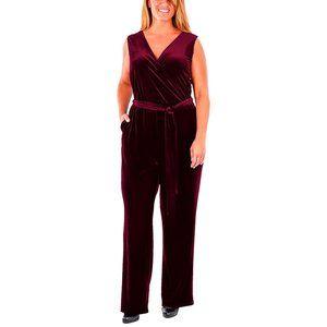 NY Collection Plus Size Faux-Wrap Velvet Jumpsuit